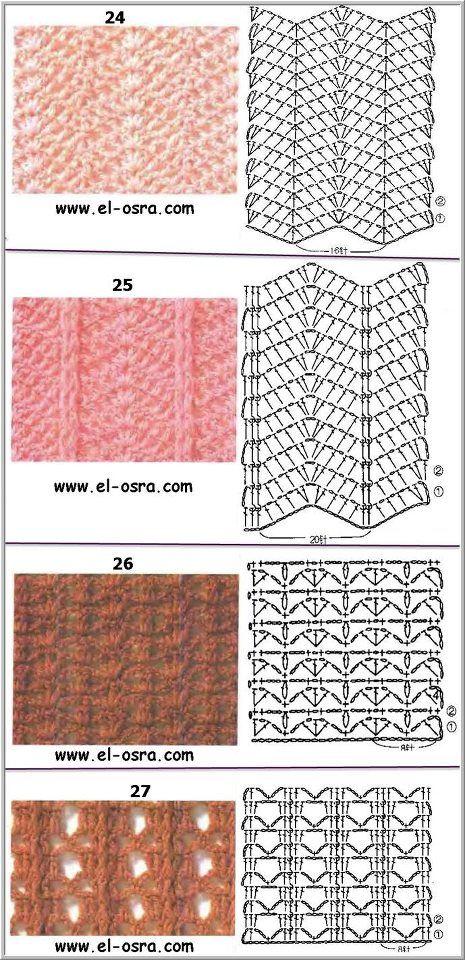 Puntadas diversas | puntillas | Croché, Ganchillo y Ganchillo crochet