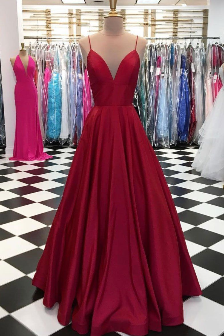 Simple v neck burgundy long prom dress burgundy evening dress