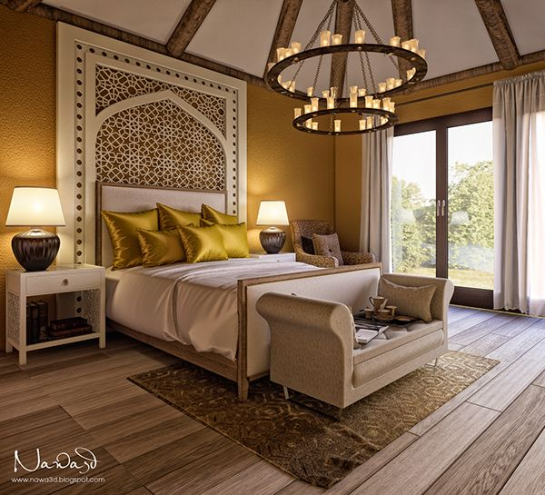 Bedroom Lighting Styles Pictures Design Ideas: Interior Render Of A Bedroom With Modern Mediteranian