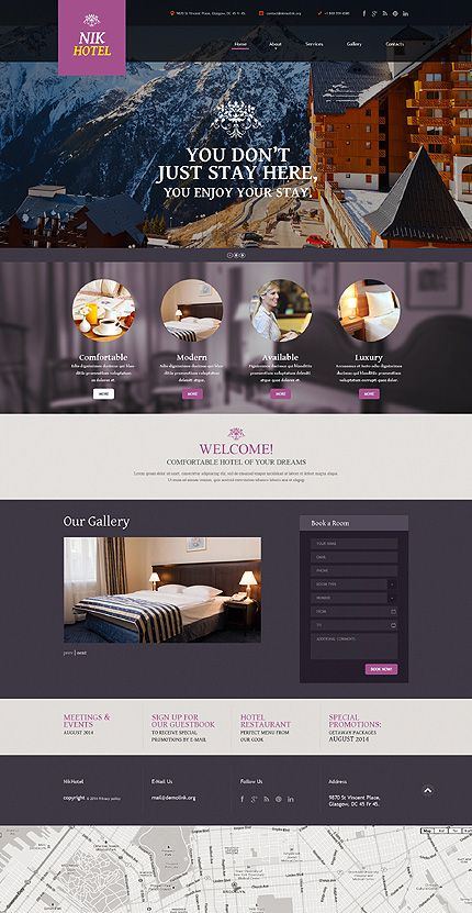 Template 50553 Hotel Responsive Website Template With Gallery And Add Ons Slider Portfo Hotel Website Design Hotel Website Templates Website Design Layout