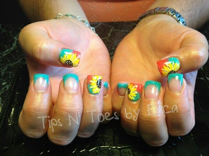 Sunflower gel nails | My nail work | Pinterest