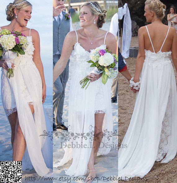 Sexy open back beach wedding dress,sexy splits boho wedding dress,Bohemian wedding dress style Kea handmade by DebbieLDesigns