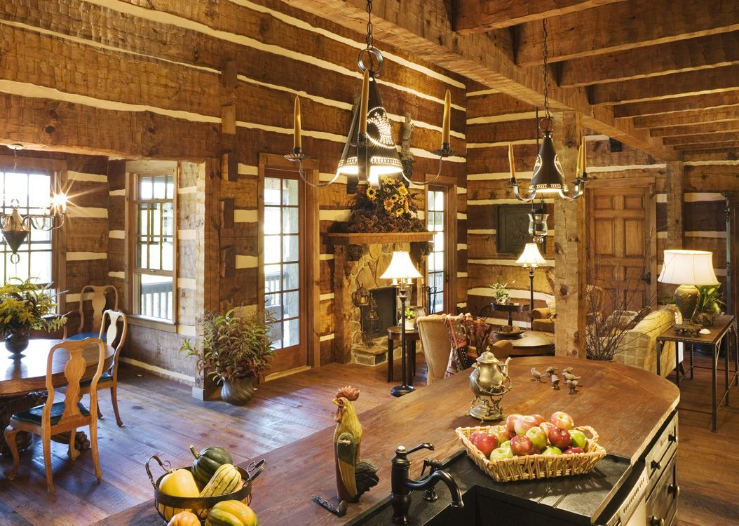 Lifeline Interior Hazelnut log home stain and Perma-Chink Stone ...