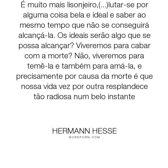 """Hermann Hesse - """"� muito mais lisonjeiro,(...)lutar-se por alguma coisa bela e ideal e saber ao mesmo..."""". philosophy"""