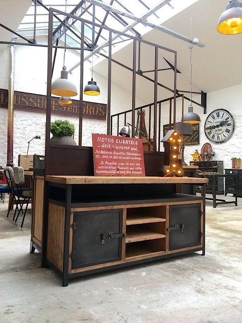 Exemple de fabrication meuble TV bois et metal déco Pinterest