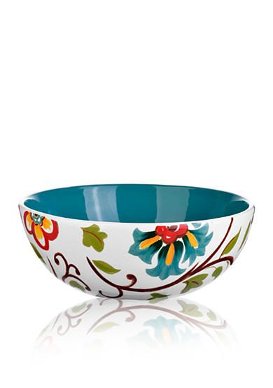 Home Accents� 10.5-in. Round Floral Serving Bowl