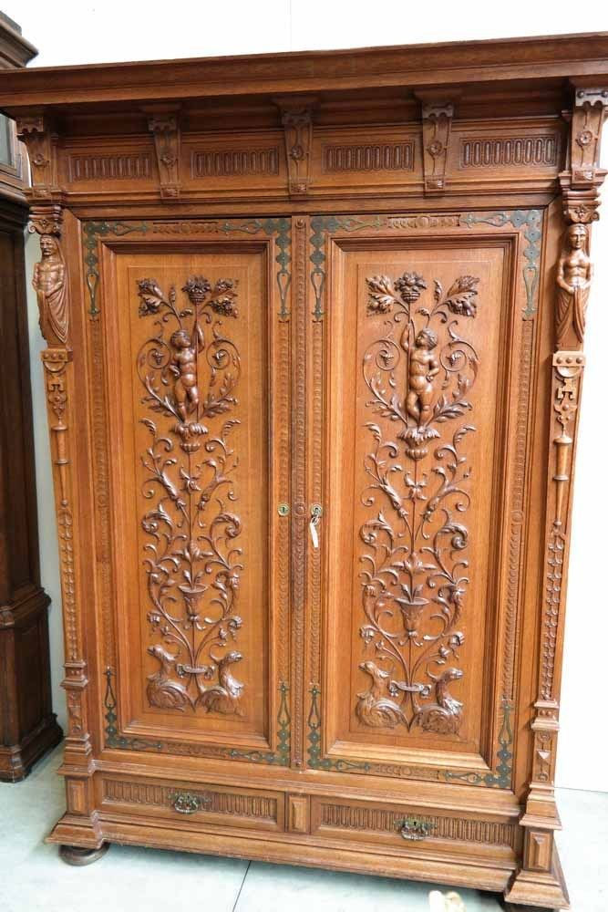 Antique French Cabinet Bedroom Armoire Plenty Storage Carved Cherubs and  Statues | Antiques, Furniture, Other Antique Furniture | eBay! - Antique French Cabinet Bedroom Armoire Plenty Storage Carved Cherubs
