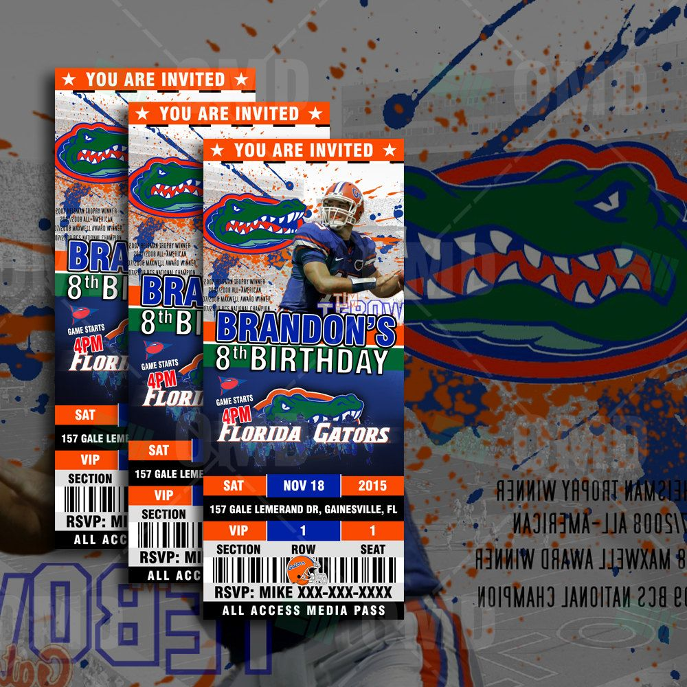 Florida Gators Ticket Style Sports Party Invitations Invites