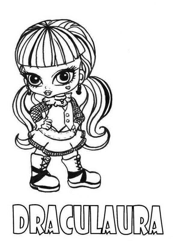 Download and Print Draculaura Little Girl Monster High Coloring