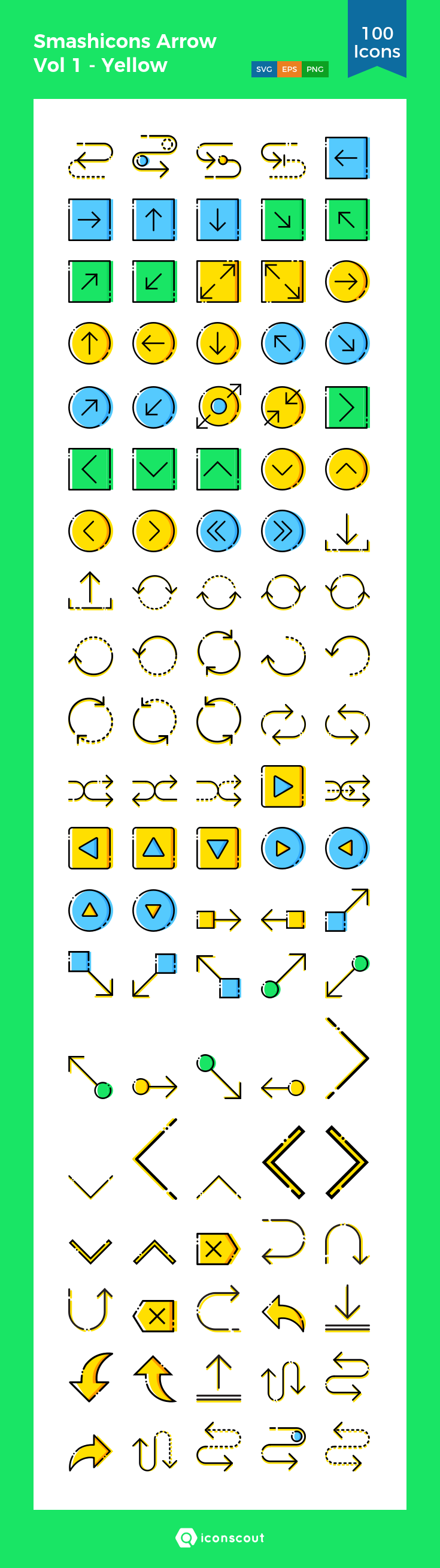 Smashicons Arrow Vol 1 Yellow Icon Pack 100 Filled Outline Icons Icon Icon Pack The 100