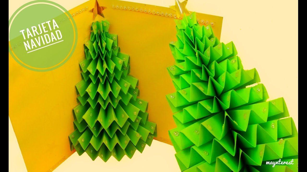 Diy Tarjeta De Navidad Arbol O Pino 3d Pop Up Tarjetas De Origami Tarjeta Navidena Tarjetas 3d Navidad