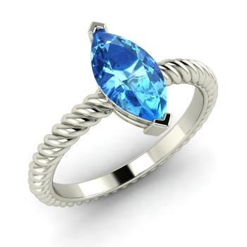 Marquise-Cut Blue Topaz Ring in 14k White Gold