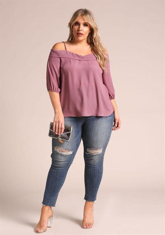 5beeef307 Blusas elegantes para gorditas 2018 | blusas | Blusas elegantes para ...