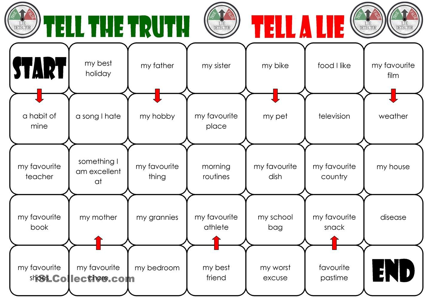 tell the truth tell a lie board game esl worksheets of the day pinterest truths board and. Black Bedroom Furniture Sets. Home Design Ideas