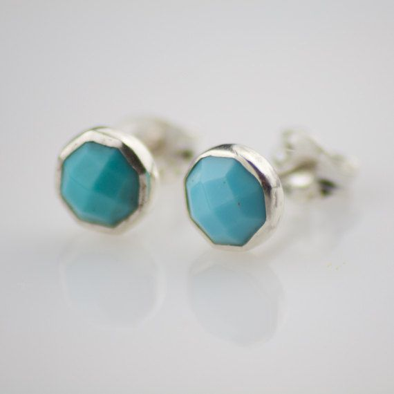 Rose Cut Turquoise Post Earrings by 9design on Etsy, €30.00
