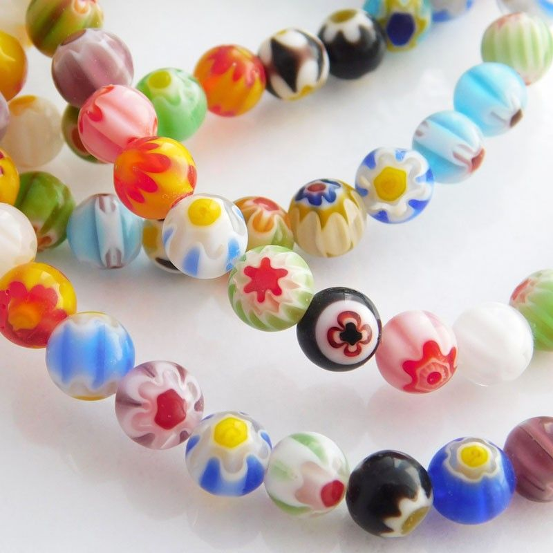 100 Hot Sell White Millefiori Glass Lampwork Round Beads 8mm