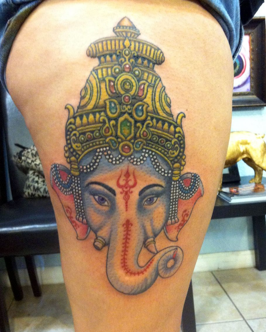 Ganesha tattoo i did a few weeks ago here at no hard for Coral springs tattoo