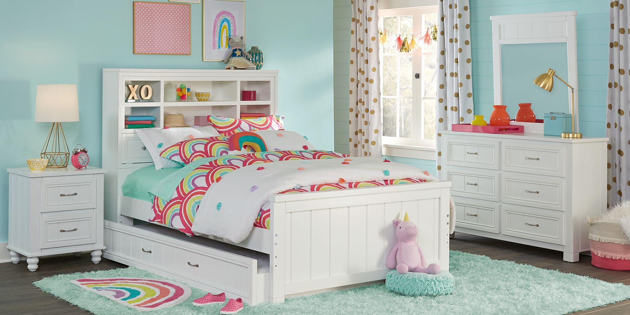 Kids Cottage Colors White 5 Pc Full Bookcase Bedroom Girls Bedroom Sets Full Size Bedroom Sets Bedroom Sets