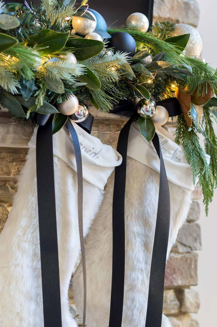 How to decorate Christmas stockings with ribbon. #christmasdecor #christmasdecorations #christmasdecorideas