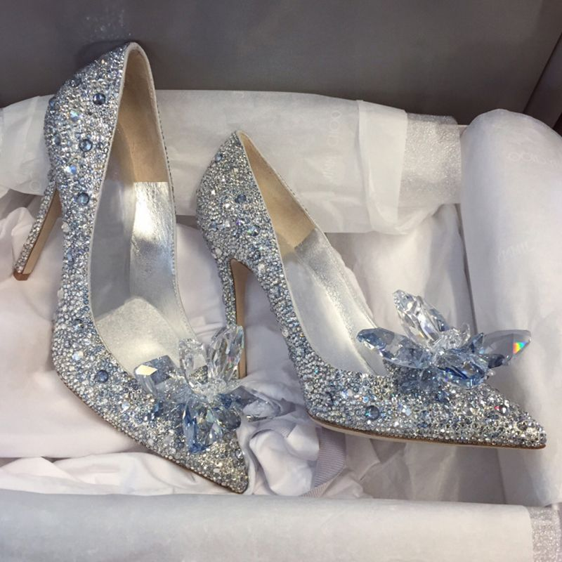Luksusowe Szampan Wykonany Recznie Kopciuszek Buty Slubne 2019 Skorzany Krysztal Rhinestone 9 Cm Szpilki Szpiczaste Slub Czolenka Silver Wedding Shoes Cinderella Wedding Shoes Flower Wedding Shoes