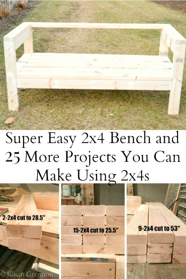 Easiest 2x4 Bench Plans Ever | Muebles de jardin, Muebles de madera ...