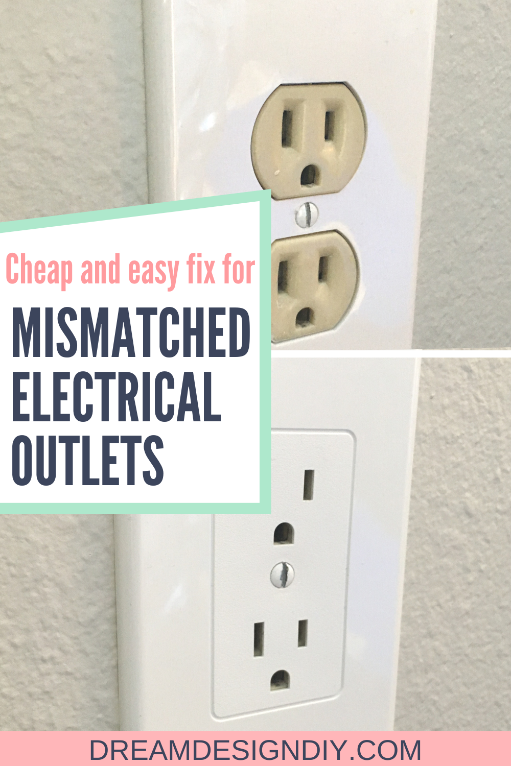 Easy Electrical Outlet Cover Tip To Fix Mismatched Electrical Outlets Dream Design Diy In 2021 Electrical Outlet Covers Dollar Store Diy Electrical Outlets
