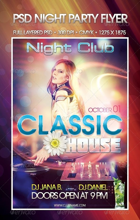 Classic House Night Party Psd Flyer Template  Psd Flyer Templates