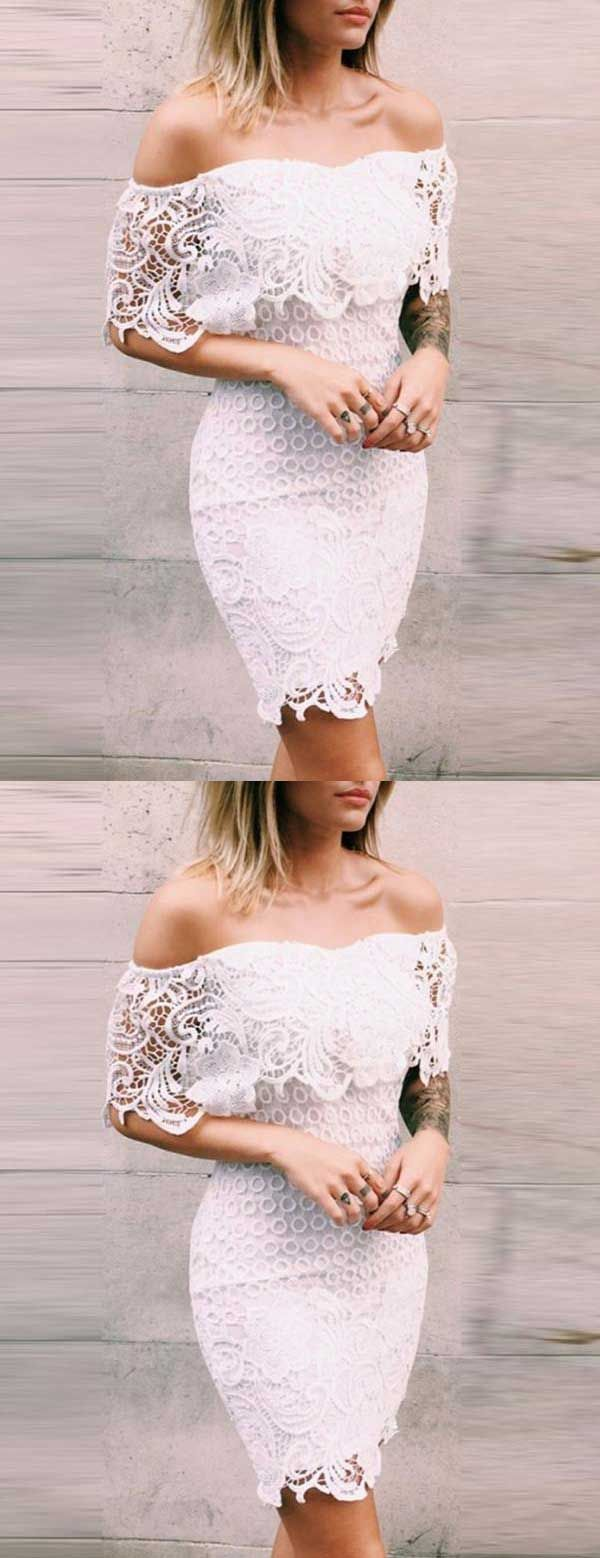 Short White Homecoming Dresses Off The Shoulder Homecoming Dresses Lace Homecoming Dresses Sheath Tight Party Dresses Party Dress Short White Lace Party Dress [ 1558 x 600 Pixel ]