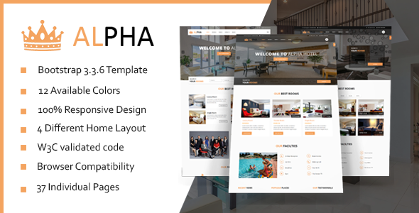 Hotel Alpha Hotel Booking Html Template Html Templates Templates Html Portfolio Template