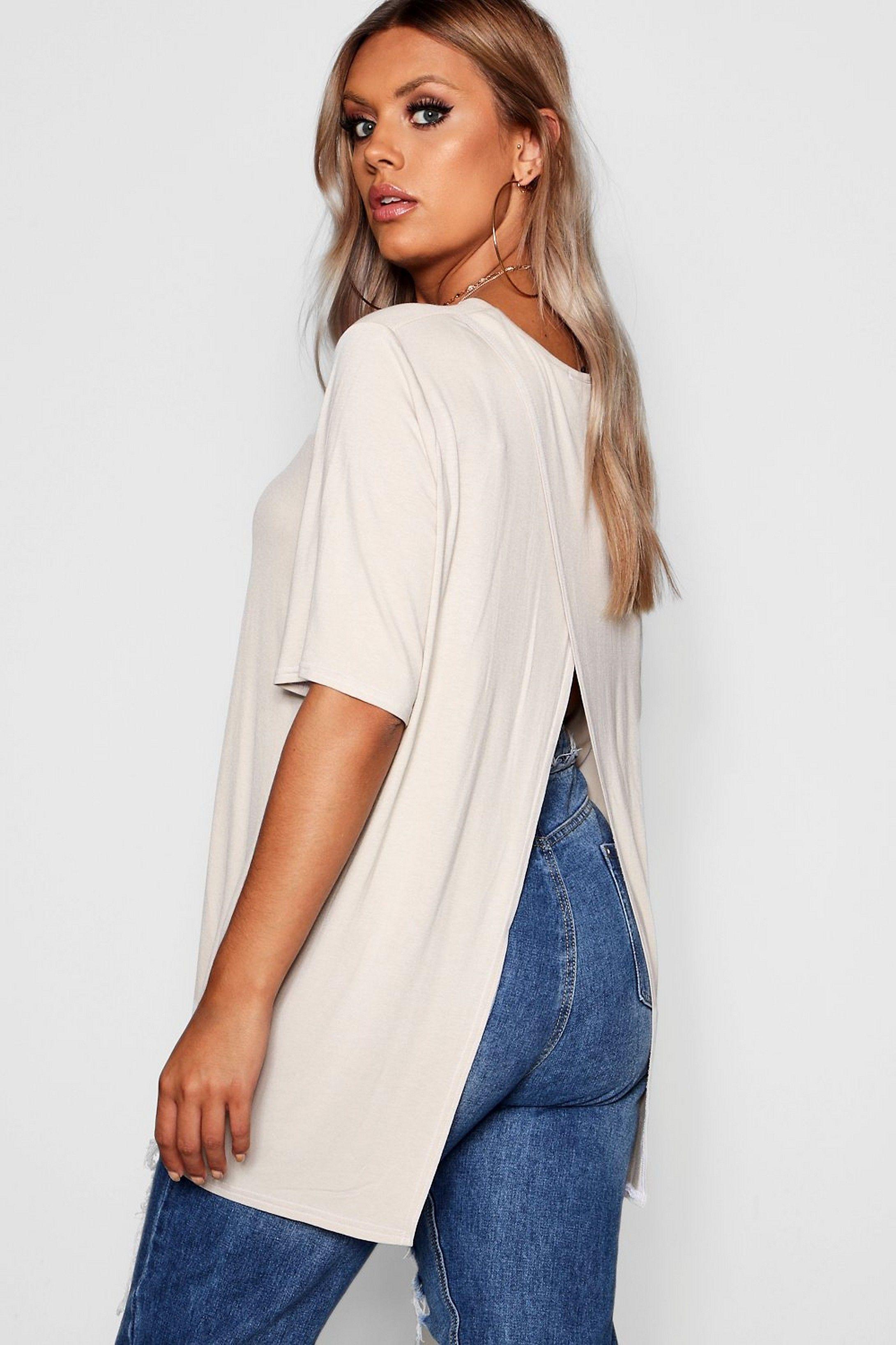 Plus Jersey Split Open Back T Shirt Boohoo Plus Size Outfits Plus Size Summer Tops Women