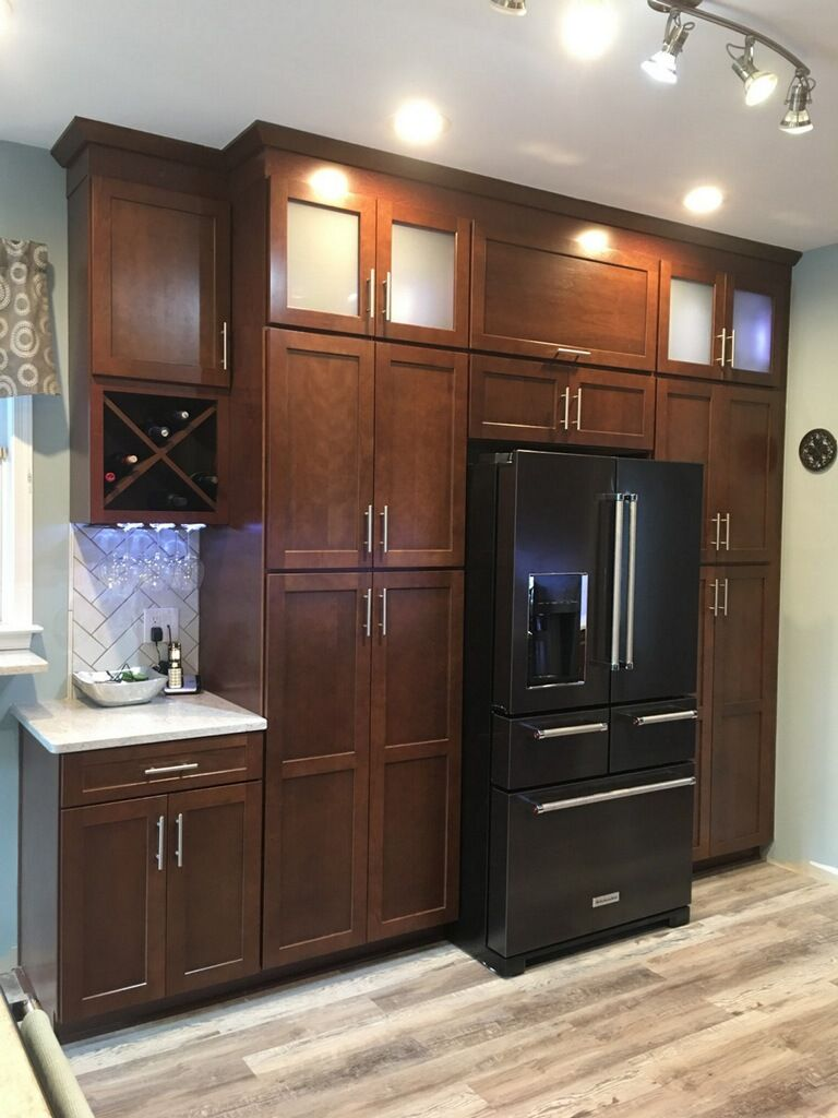 Cherry Spice Shaker Style Cabinets With Stacked Glass Uppers And Interior Lighting Wine St Shaker Style Cabinets Kitchen Cabinet Remodel Kitchen Spice Storage