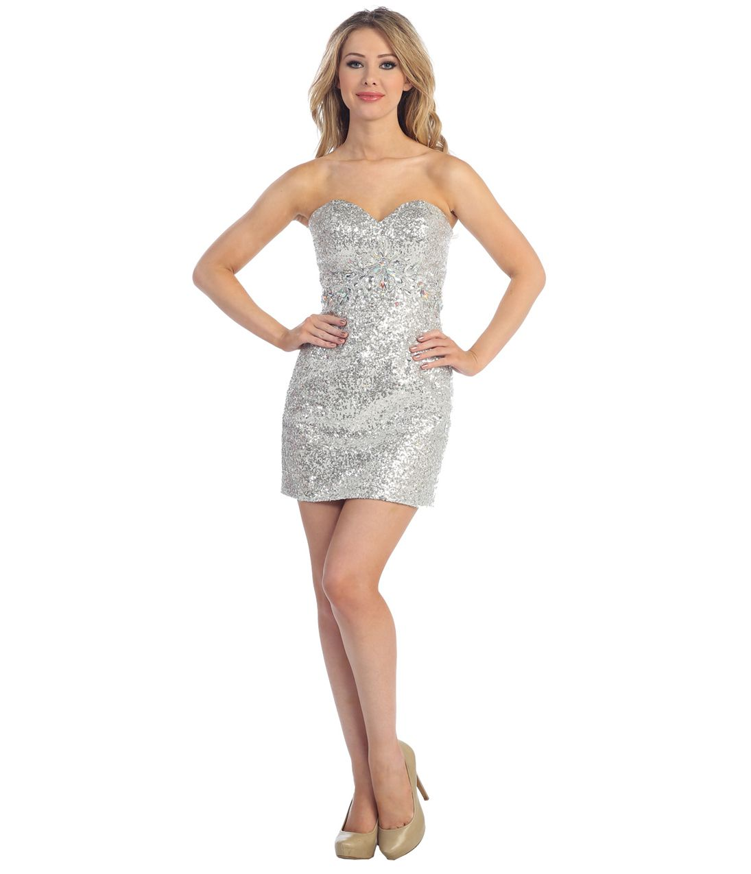 14f515ebb2eb0 2013 Prom Dresses - Silver Sequin Fitted Short Prom Dress - Unique Vintage  - Prom dresses