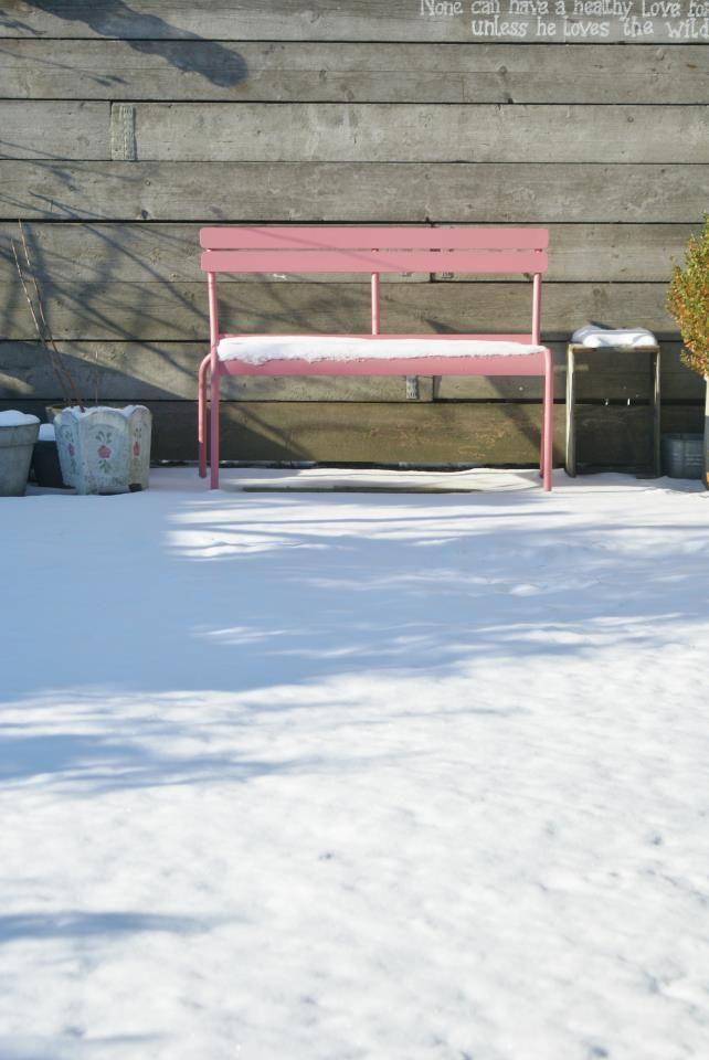Fermob bench with snow | Fermob, Garden bench, Outdoor