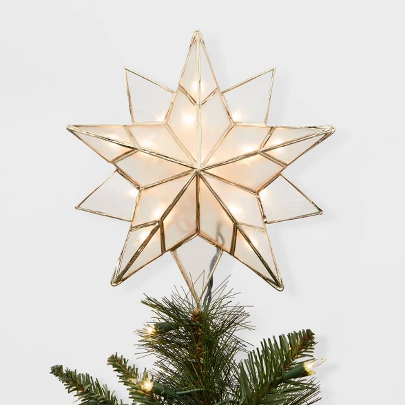 13in Lit Gold Metal And Capiz Star Tree Topper Wondershop Target Christmas Tree Star Topper Christmas Tree Toppers Lighted Star Tree Topper