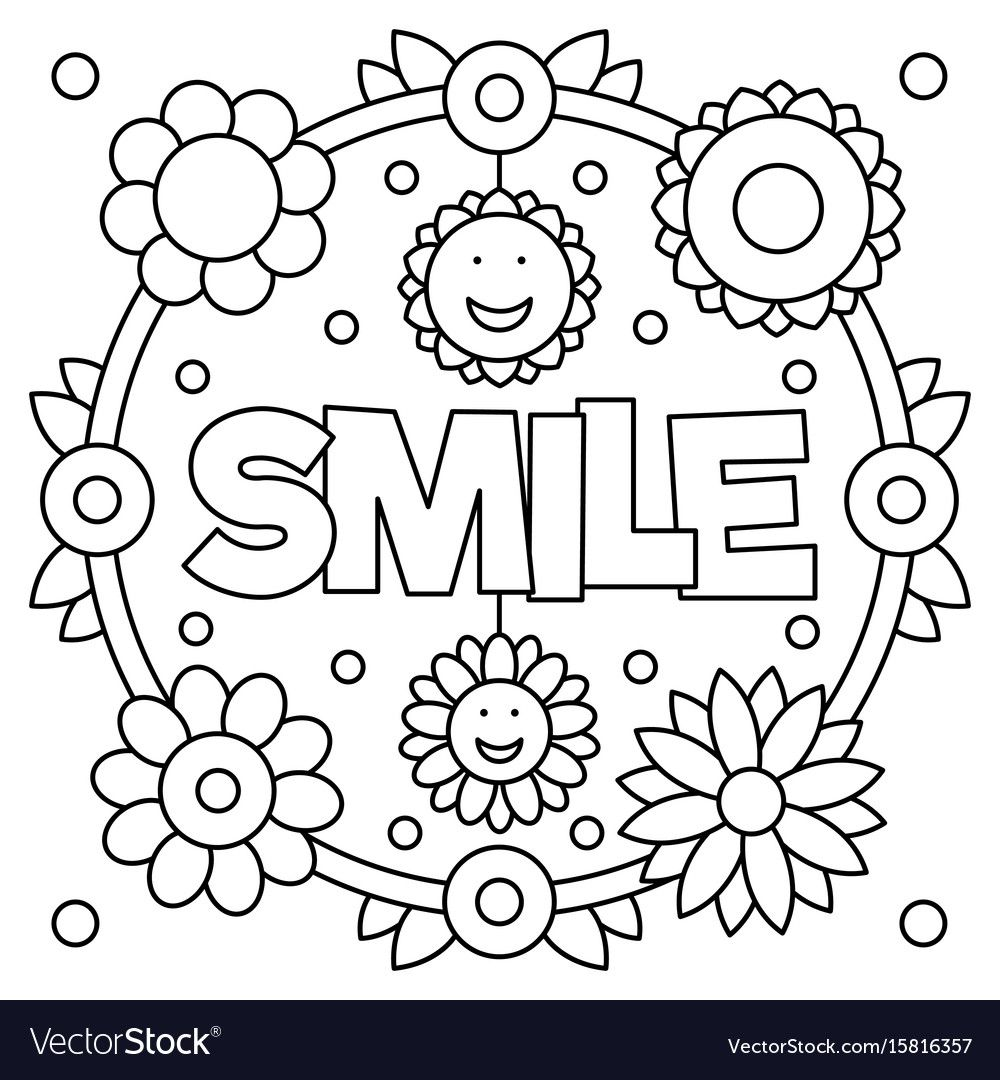 Smile Coloring Page Vector Image On Coloring Pages Valentine