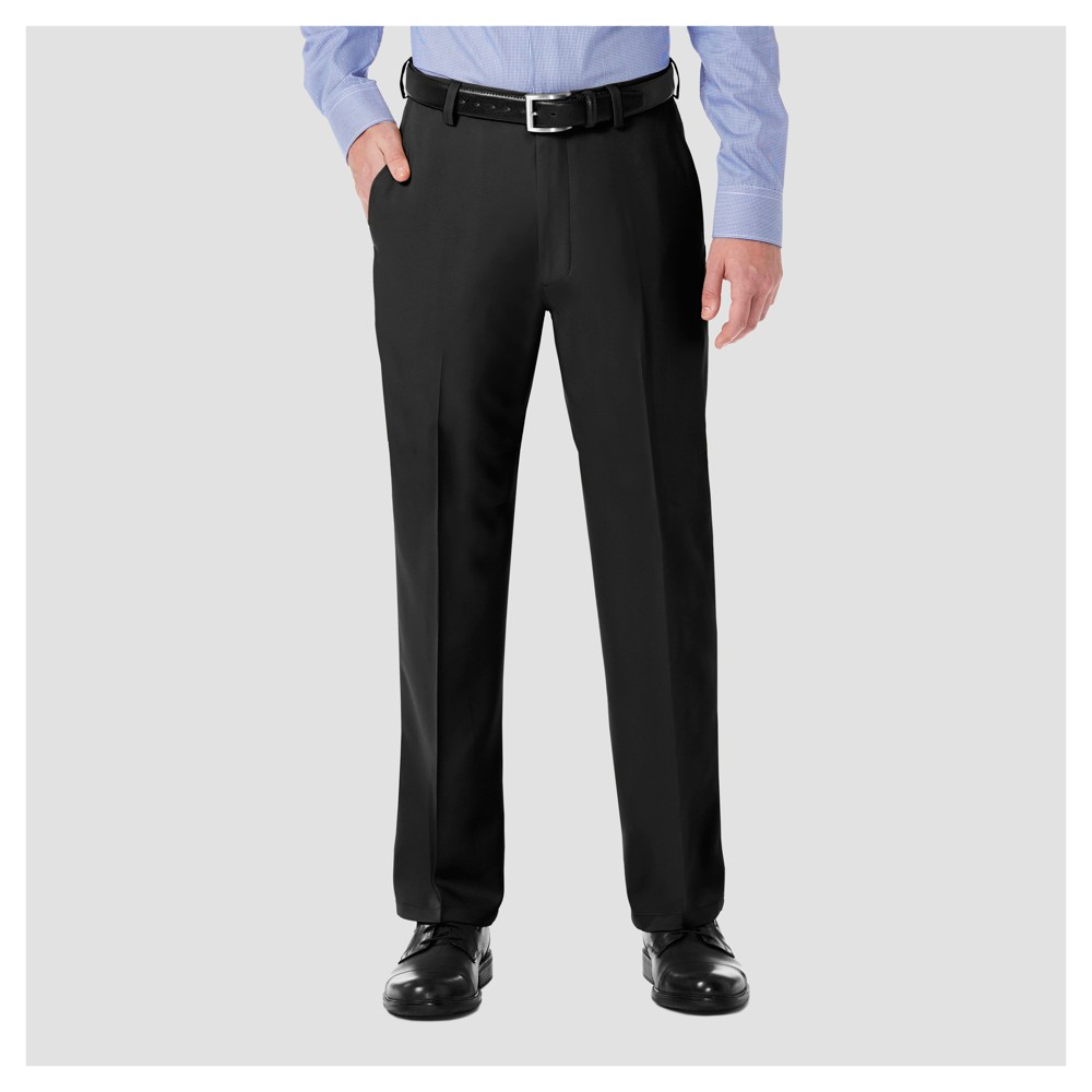 Haggar H26 Men's Performance 4 Way Stretch Classic Fit Trouser Pants - Black 34x34