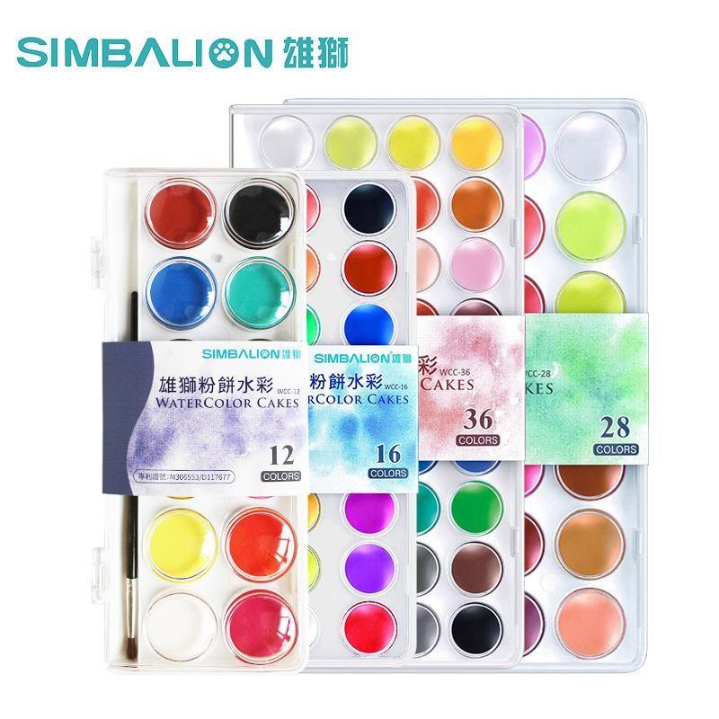 Taiwan Simbalion 16 28 36 Colors Professional Solid Watercolor