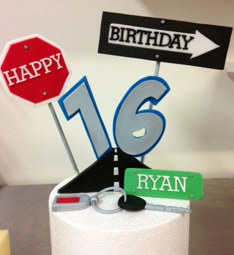 16th Birthday Road Sign Fondant Cake Topper Edible