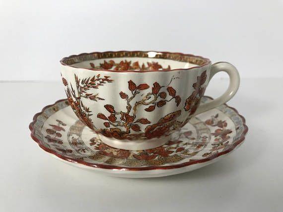Vintage Copeland Spode Indian Tree Tea Cup and Saucer  Orange