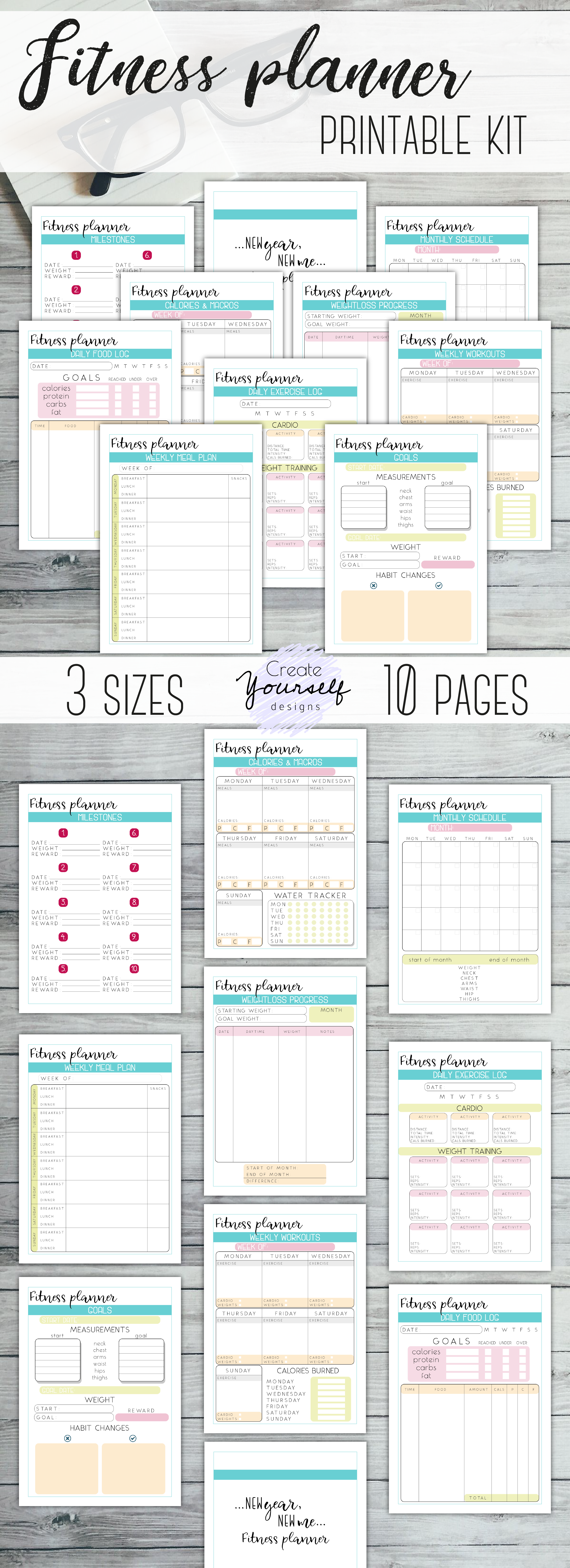 fitness planner printable weight loss tracker workout planner