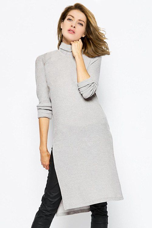 90aacf83bb9 Side Slit Turtle Neck Solid Color Sweater Dress