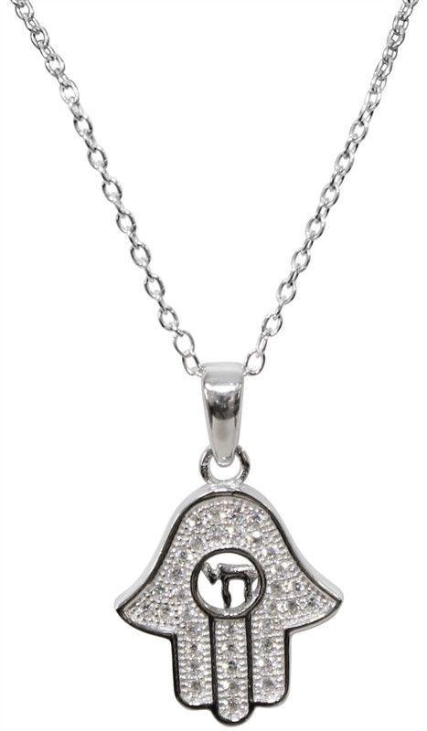 Silver Chamsa Necklace With Stones center Chai