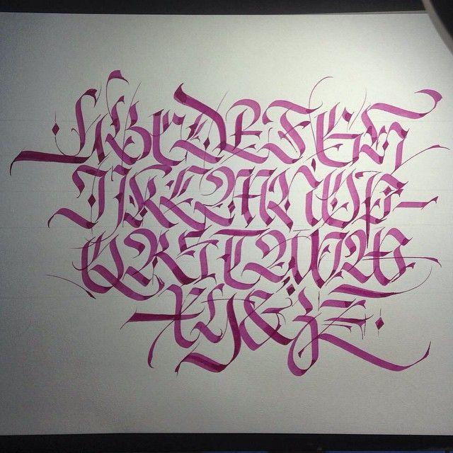 Fraktur Alphabet Calligraphy Caligrafia Typography Type Lettering Letter Gothic Red