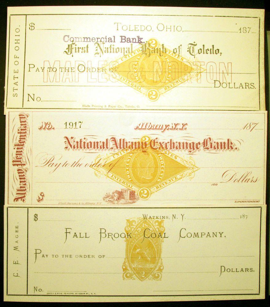 Rn B1 Rn G1 2c Orange 1870s Revenue Stamp On Unused Bank Checks 3 Items Revenue Stamp Rare Stamps Bank Check