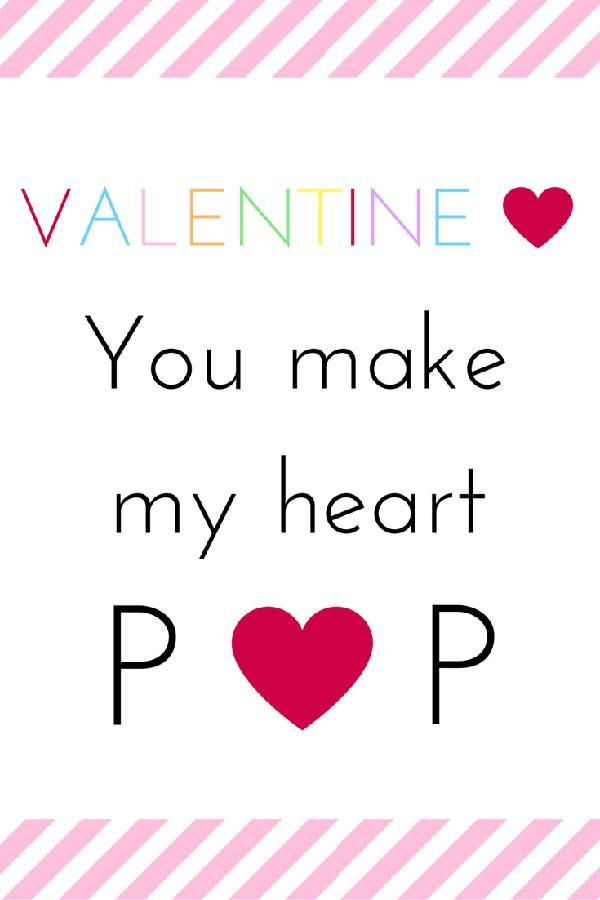 photo regarding You Make My Heart Pop Valentine Printable titled Yourself Deliver My Center Pop\
