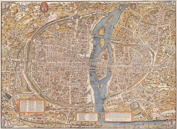 Old map of paris 1550 paris map in 5 sizes up to 43x60 large vintage historic old world map of paris france circa 1550 fine art print giclee poster publicscrutiny Gallery