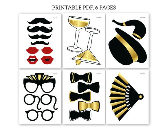 Gatsby Photo Booth Props Printable Pdf Great Gatsby Party Props