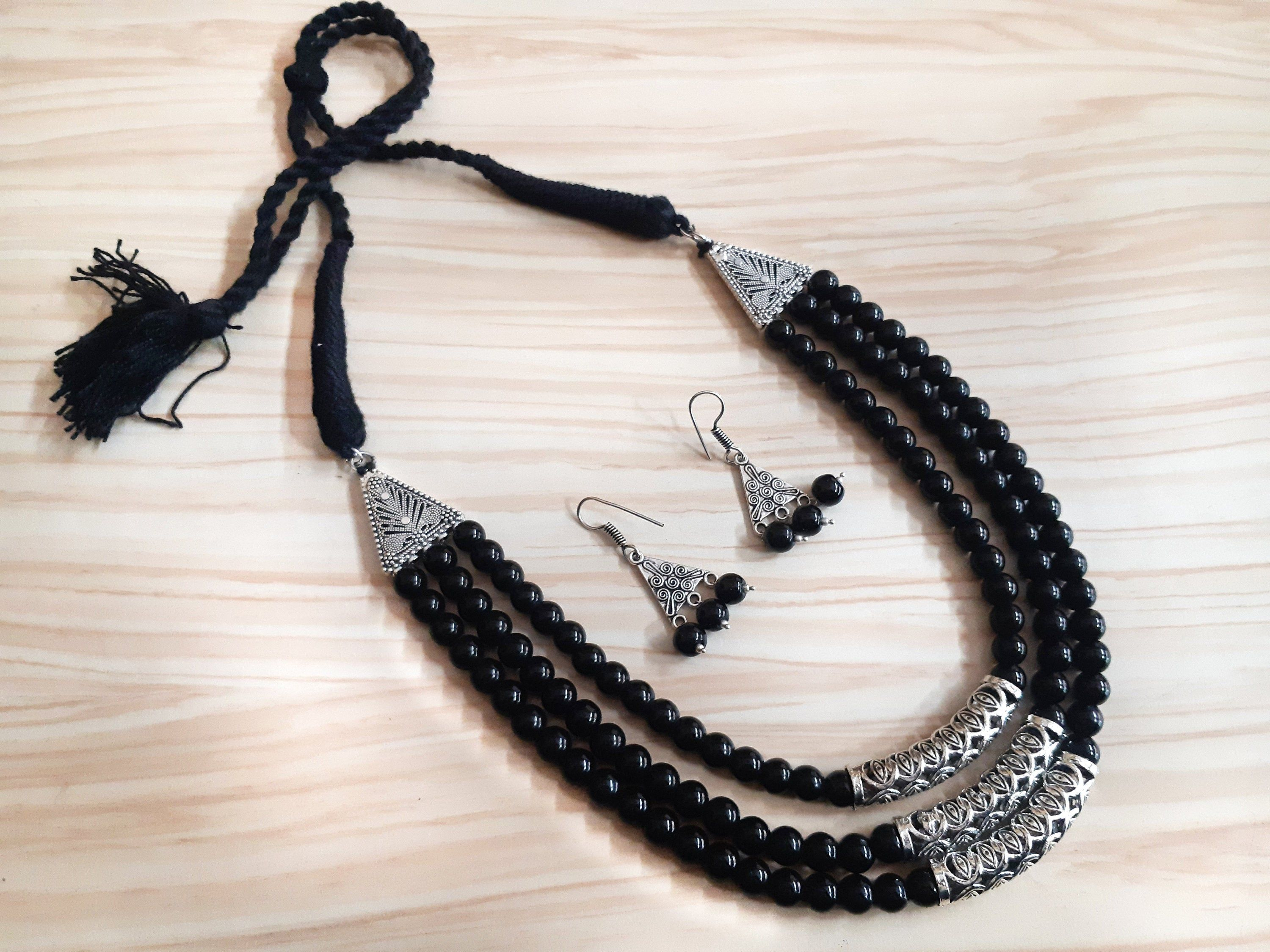 Oxidised silver bead and glass bead necklace set with Tibetan pendant German Silver bead necklace