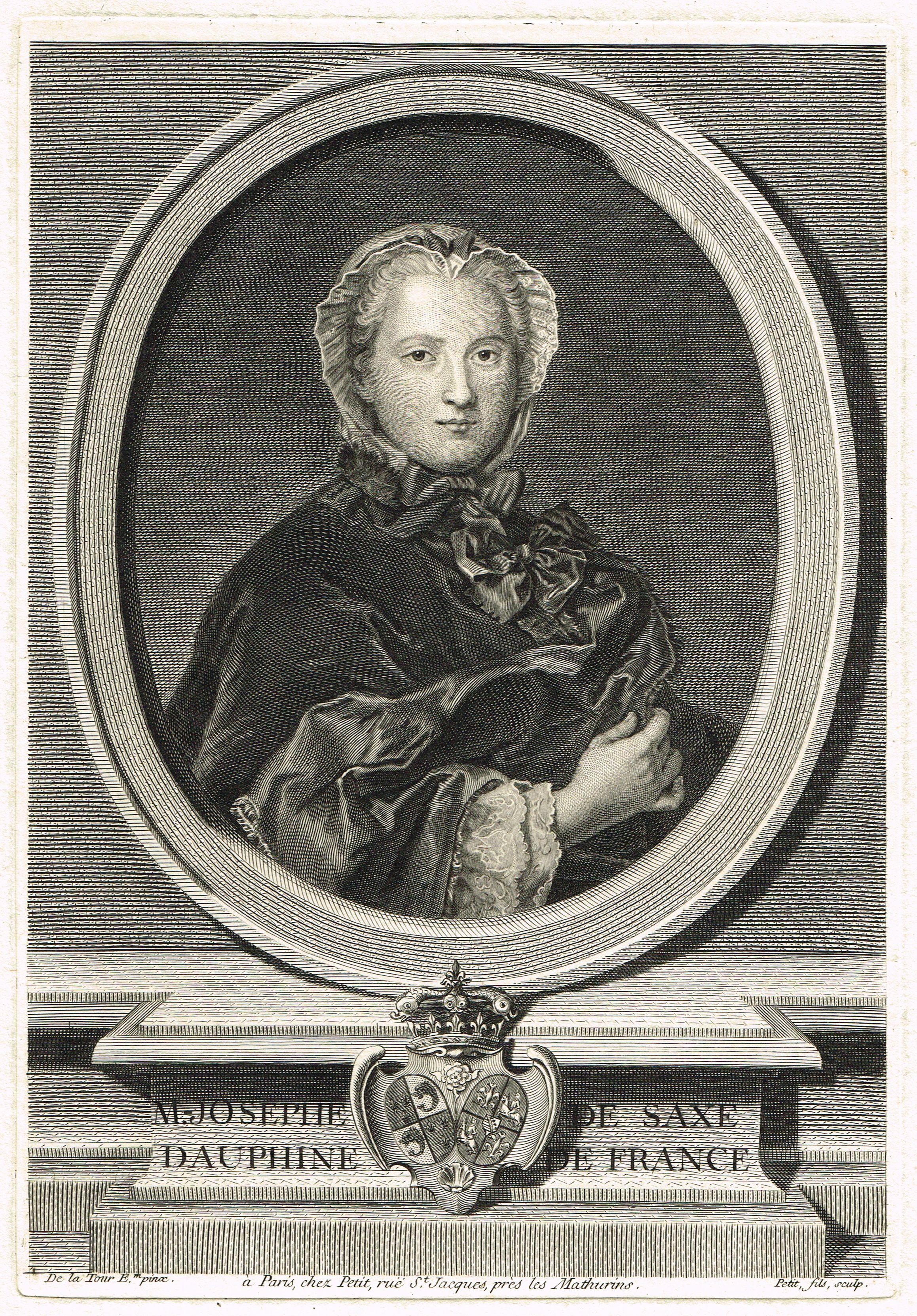 Marie-Josèphe de Saxe (1731-1767) - épouse de Louis Ferdinand de France - mère de Louis XVI, Louis XVIII et Charles X - gravé par Petit d'après de la Tour.