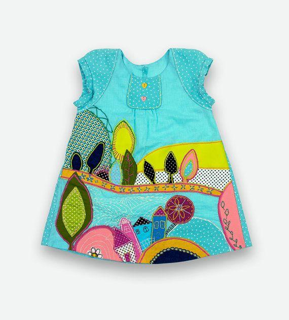 Ocean blue appliqued flower girl dress...